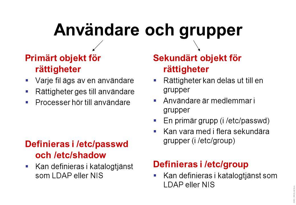 ©2003–2004 David Byers Användare och grupper Primärt objekt för rättigheter  Varje fil ägs av en användare  Rättigheter ges till användare  Processer hör till användare Definieras i /etc/passwd och /etc/shadow  Kan definieras i katalogtjänst som LDAP eller NIS Sekundärt objekt för rättigheter  Rättigheter kan delas ut till en grupper  Användare är medlemmar i grupper  En primär grupp (i /etc/passwd)  Kan vara med i flera sekundära grupper (i /etc/group) Definieras i /etc/group  Kan definieras i katalogtjänst som LDAP eller NIS