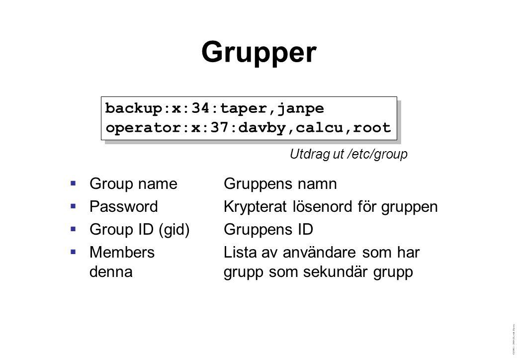 ©2003–2004 David Byers Grupper  Group nameGruppens namn  PasswordKrypterat lösenord för gruppen  Group ID (gid)Gruppens ID  MembersLista av användare som har denna grupp som sekundär grupp backup:x:34:taper,janpe operator:x:37:davby,calcu,root backup:x:34:taper,janpe operator:x:37:davby,calcu,root Utdrag ut /etc/group