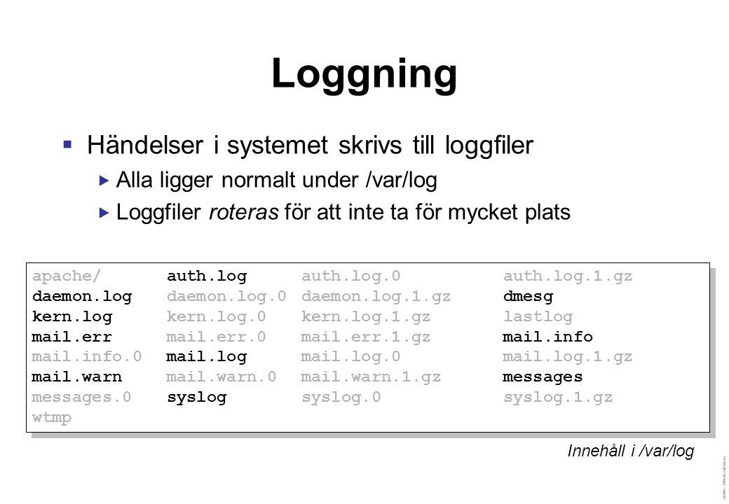 ©2003–2004 David Byers Loggning  Händelser i systemet skrivs till loggfiler  Alla ligger normalt under /var/log  Loggfiler roteras för att inte ta för mycket plats apache/auth.logauth.log.0auth.log.1.gz daemon.logdaemon.log.0daemon.log.1.gzdmesg kern.logkern.log.0kern.log.1.gzlastlog mail.errmail.err.0mail.err.1.gzmail.info mail.info.0mail.logmail.log.0mail.log.1.gz mail.warnmail.warn.0mail.warn.1.gzmessages messages.0syslogsyslog.0syslog.1.gz wtmp apache/auth.logauth.log.0auth.log.1.gz daemon.logdaemon.log.0daemon.log.1.gzdmesg kern.logkern.log.0kern.log.1.gzlastlog mail.errmail.err.0mail.err.1.gzmail.info mail.info.0mail.logmail.log.0mail.log.1.gz mail.warnmail.warn.0mail.warn.1.gzmessages messages.0syslogsyslog.0syslog.1.gz wtmp Innehåll i /var/log