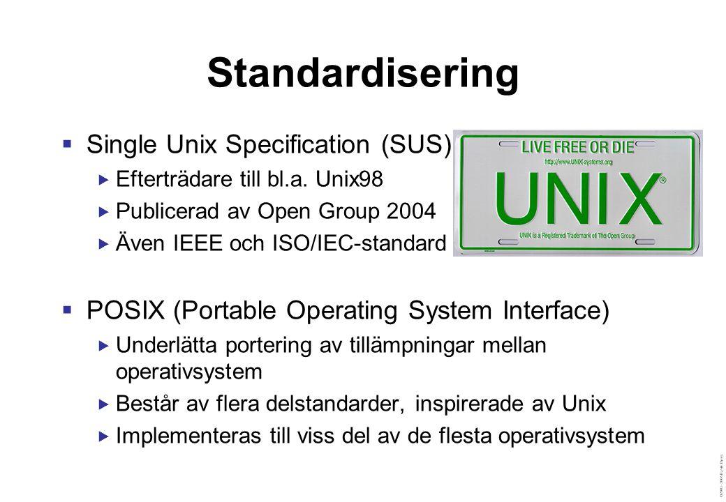 ©2003–2004 David Byers Linux  Öppen, portabel operativsystemskärna  Linux innehåller inga användarprogram  Influenser från BSD, System V och andra system  Operativsystemsomgivningen  Består av Gnu-projektets verktyg (därav Gnu/Linux)  Bestäms av den distribution av Linux man använder