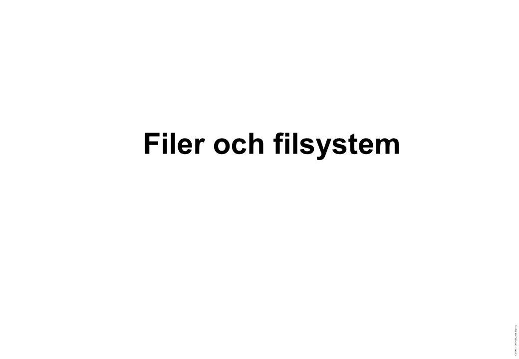 ©2003–2004 David Byers Särskilda filsystem: procfs (/proc) Inställningar  /proc/sys/net/ipv4/… Information  /proc/version  /proc/meminfo  Implementeras som sysctl  Kommandot sysctl  Filen /etc/sysctl.conf % echo 1 > /proc/sys/net/ipv4/tcp_ecn % cat /proc/version Linux version 2.6.7 (root@sysi-01) (gcc version 3.3.4 (Debian 1:3.3.4-6)) #1 Wed Sep 1 16:40:49 CEST 2004 % cat /proc/meminfo MemTotal: 907564 kB MemFree: 24544 kB Buffers: 231808 kB Cached: 347912 kB SwapCached: 0 kB % /sbin/sysctl net.ipv4.ip_default_ttl net.ipv4.ip_default_ttl = 64 % /sbin/sysctl -w net.ipv4.ip_default_ttl=65 net.ipv4.ip_default_ttl = 65 % /sbin/sysctl –w net.ipv4.tcp_ecn=1 net.ipv4.tcp_ecn = 1