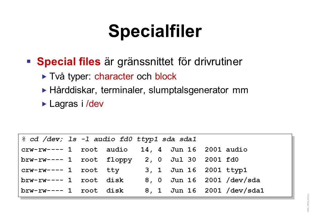©2003–2004 David Byers Vanliga Specialfiler Blockenheter  /dev/hda – IDE-disk  /dev/hda1 – Partition 1 på hda  /dev/sda – SCSI-disk  /dev/ubd0 – UML-disk Teckenenheter  /dev/tty – Aktuell terminal  /dev/console – Systemkonsoll  /dev/pts/17 – Pseudo-terminal Special-specialfiler  /dev/null – Svart hål  /dev/zero – Nollor  /dev/kmem – Kärnans minne