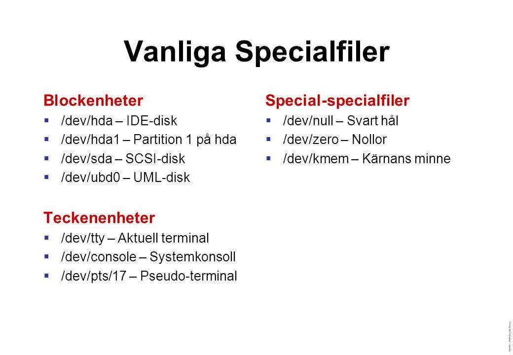 ©2003–2004 David Byers Vanliga Specialfiler Blockenheter  /dev/hda – IDE-disk  /dev/hda1 – Partition 1 på hda  /dev/sda – SCSI-disk  /dev/ubd0 – U
