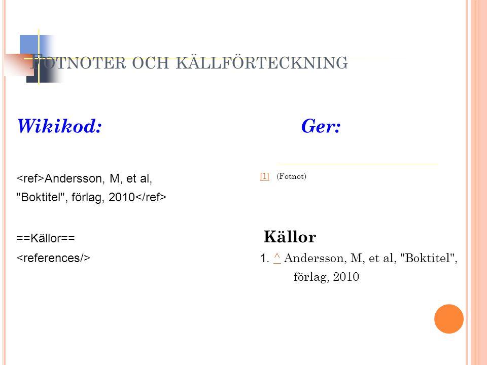 Wikikod:Ger: Andersson, M, et al, [1] (Fotnot) [1] Boktitel , förlag, 2010 ==Källor== Källor 1.