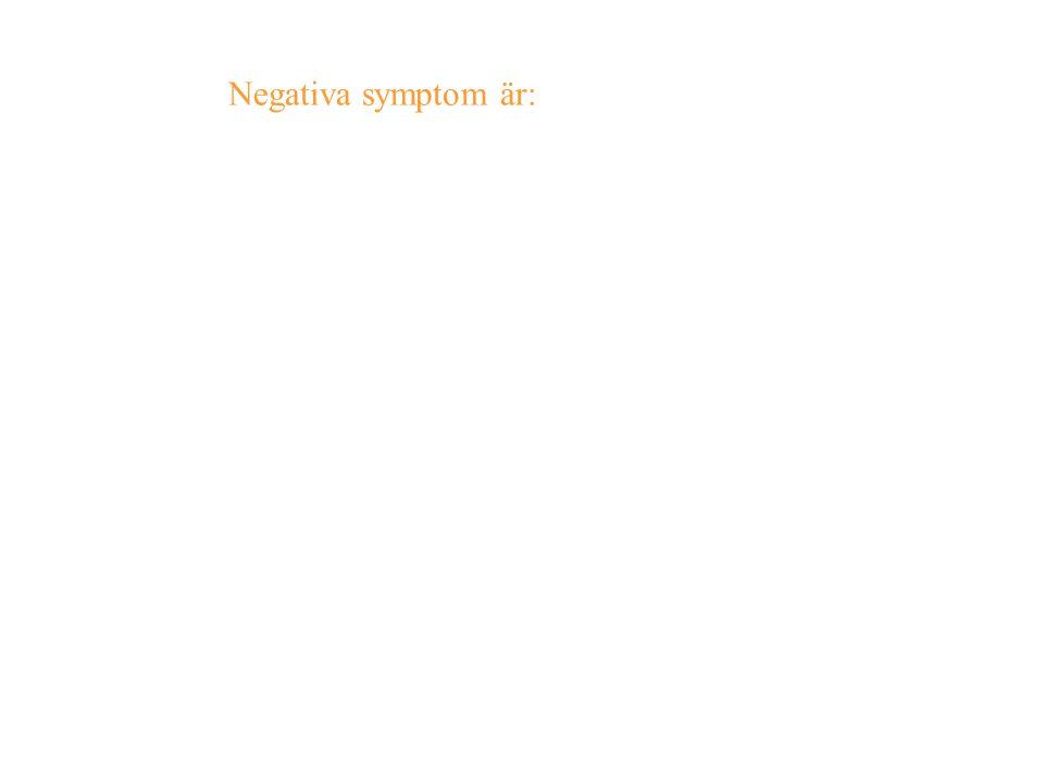 Negativa symptom är: illamående, törst, muskelspänning, käkkramp, darrningar, svettningar och illusioner (vanföreställningar) förstärkta av ljus och l