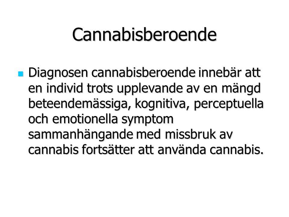 Cannabisberoende Diagnosen cannabisberoende innebär att en individ trots upplevande av en mängd beteendemässiga, kognitiva, perceptuella och emotionel