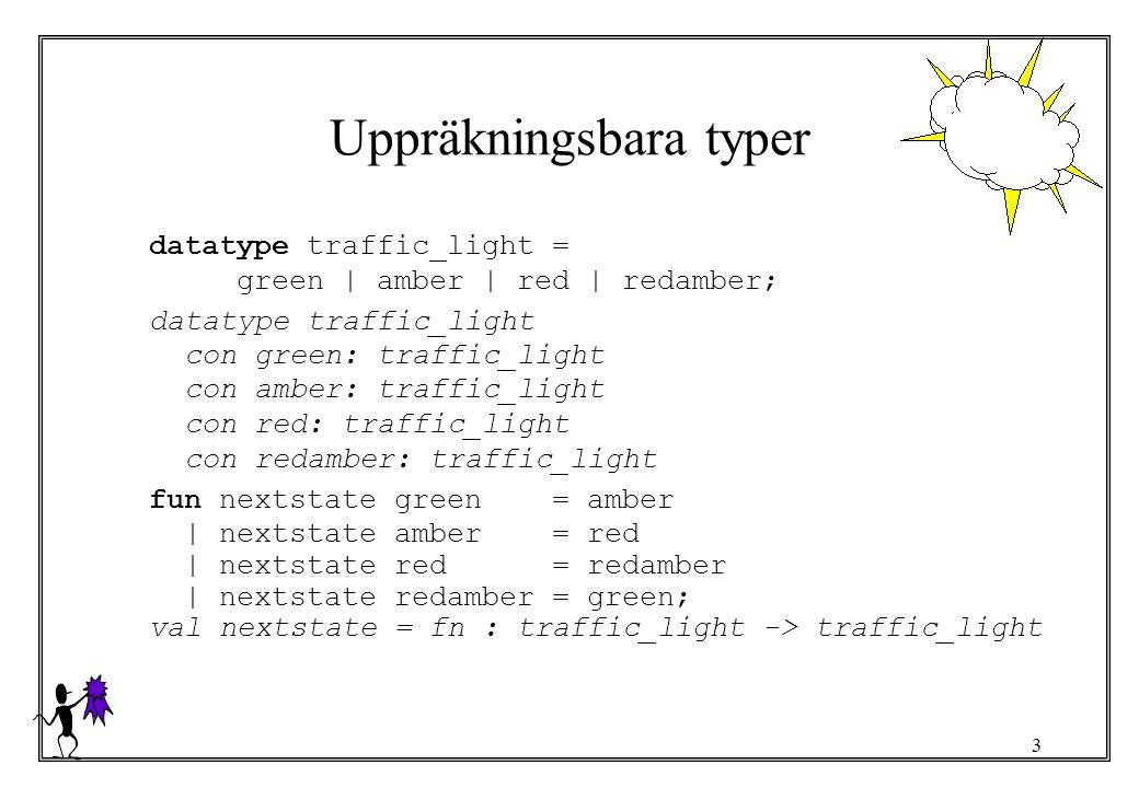 4 Datatypsdeklaration Skapar en ny typ Skapar nya konstruerare –konstruerarkonstanter, identifierare Syntax datatype type_constructor = value_constructor 1   value_constructor 2   …   value_constructor n