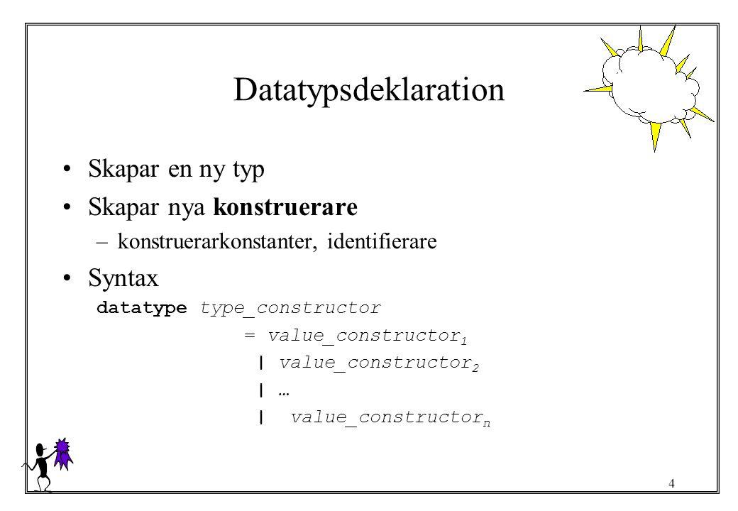 5 Strukturerad datatyp Kopplar konstrueraren till ett värde av någon given typ datatype coords = coords of real * real * real datatype coords con coords : (real * real * real) -> coords Syntax datatype type_constructor = value_constructor 1 [of type_expression 1 ]   value_constructor 2 [of type_expression 2 ]   …   value_constructor n [of type_expression n ]