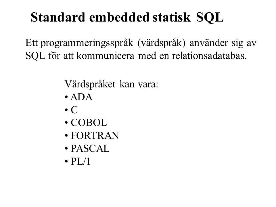 Standard embedded statisk SQL Ett programmeringsspråk (värdspråk) använder sig av SQL för att kommunicera med en relationsadatabas. Värdspråket kan va