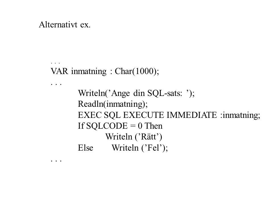 VAR inmatning : Char(1000);... Writeln('Ange din SQL-sats: '); Readln(inmatning); EXEC SQL EXECUTE IMMEDIATE :inmatning; If SQLCODE = 0 Then Writeln (