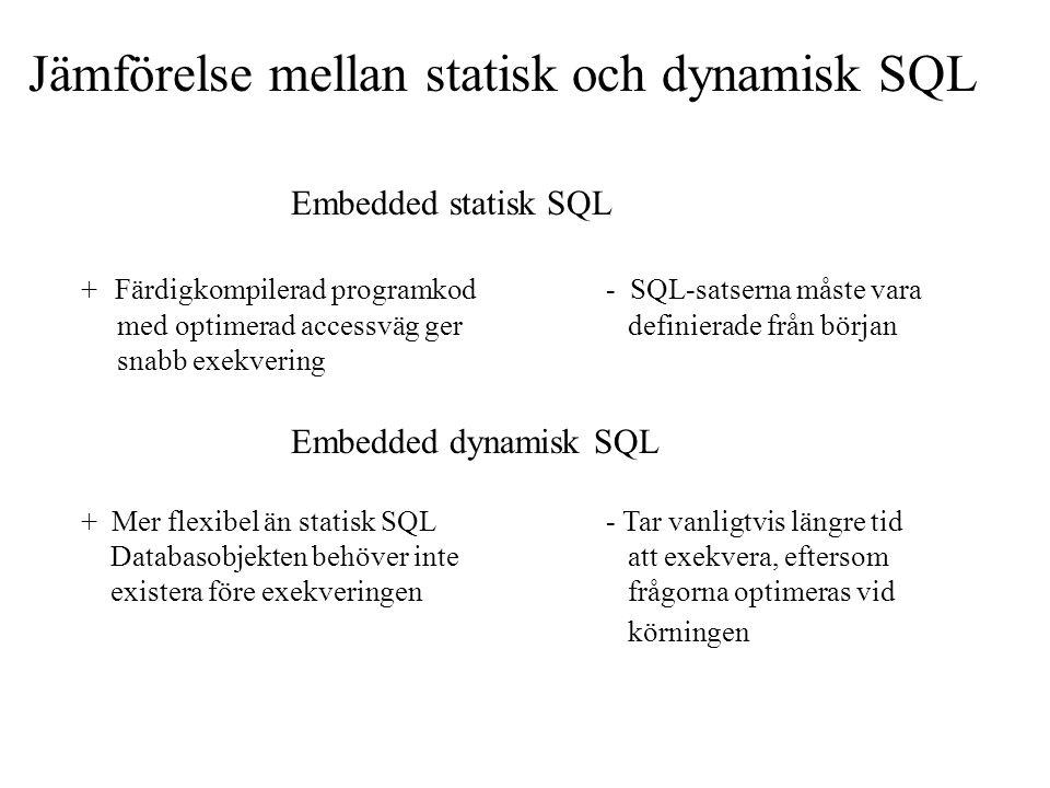 Jämförelse mellan statisk och dynamisk SQL Embedded statisk SQL + Färdigkompilerad programkod- SQL-satserna måste vara med optimerad accessväg ger definierade från början snabb exekvering Embedded dynamisk SQL + Mer flexibel än statisk SQL- Tar vanligtvis längre tid Databasobjekten behöver inte att exekvera, eftersom existera före exekveringen frågorna optimeras vid körningen