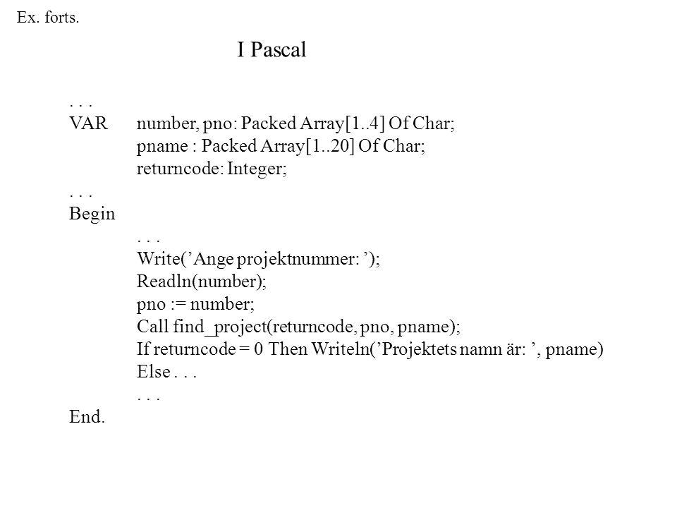 Ex. forts. I Pascal...
