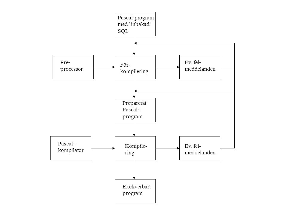 Pascal-program med 'inbakad' SQL Pre- processor För- kompilering Ev. fel- meddelanden Preparerat Pascal- program Pascal- kompilator Kompile- ring Ev.