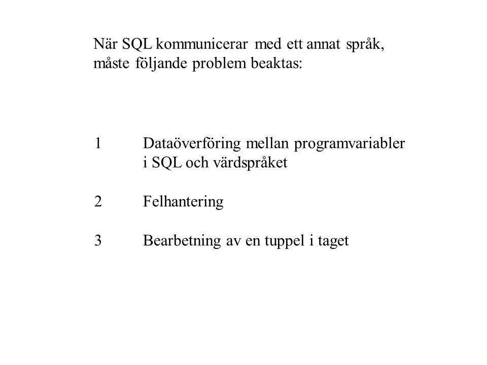 När SQL kommunicerar med ett annat språk, måste följande problem beaktas: 1Dataöverföring mellan programvariabler i SQL och värdspråket 2Felhantering 3Bearbetning av en tuppel i taget