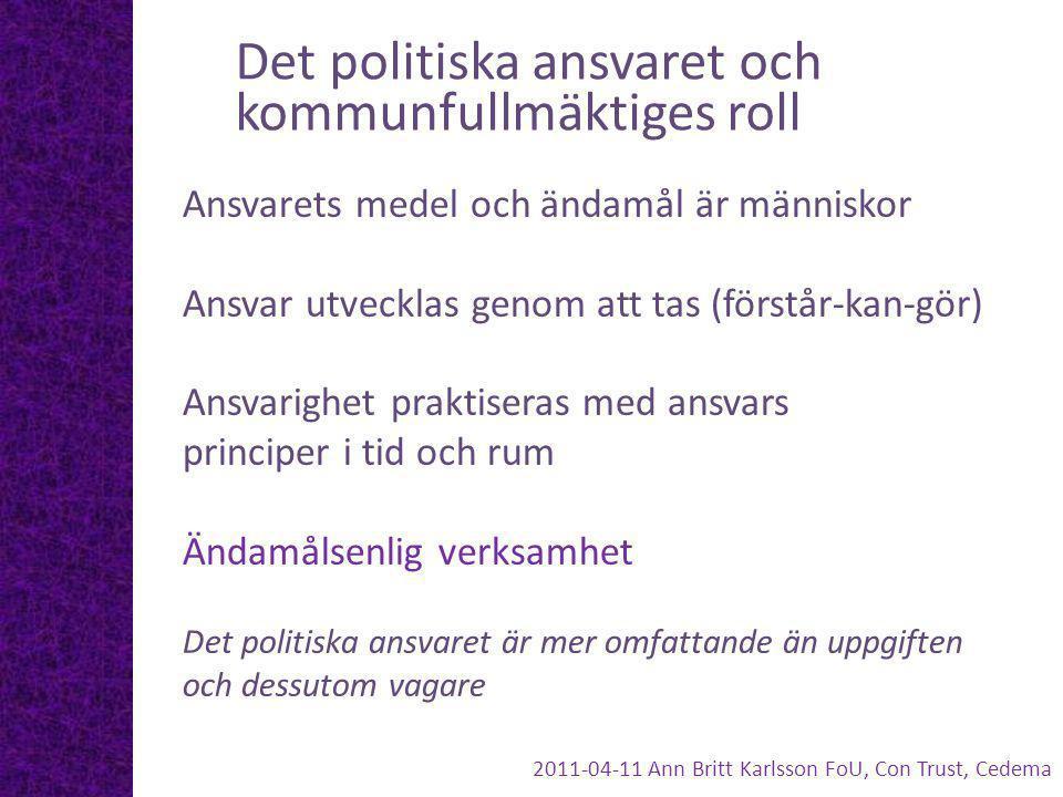 Det politiska ansvaret och kommunfullmäktiges roll Ansvarets medel och ändamål är människor Ansvar utvecklas genom att tas (förstår-kan-gör) Ansvarigh
