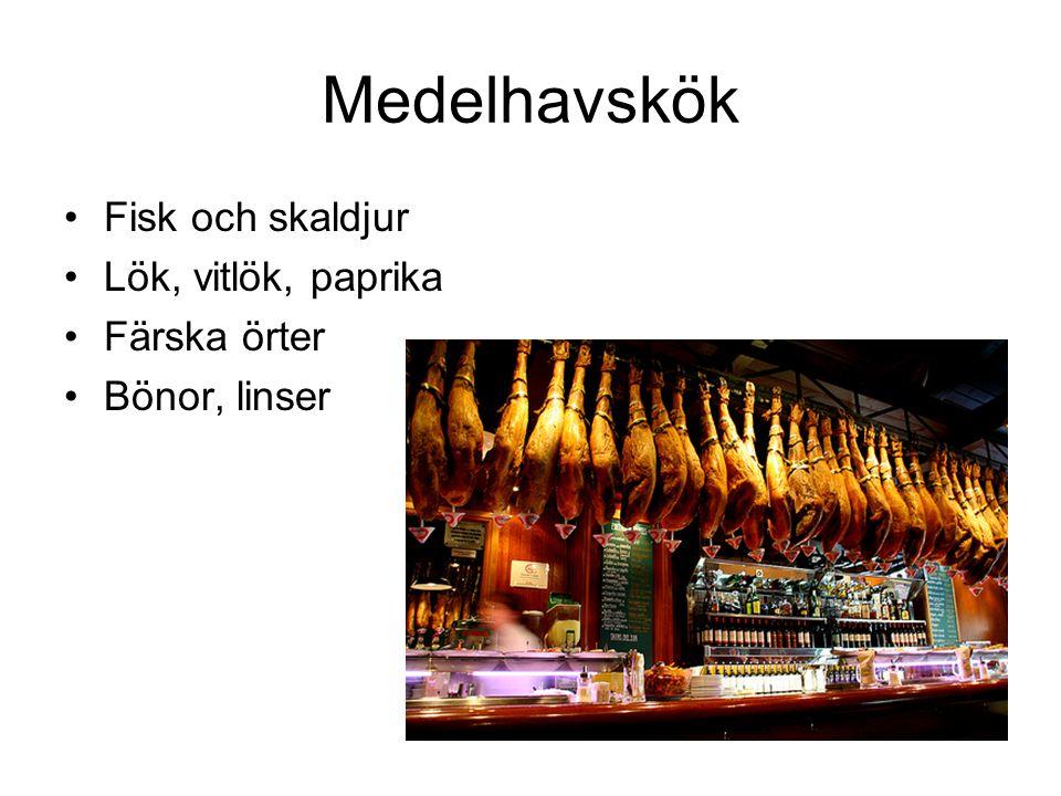 Medelhavskök Fisk och skaldjur Lök, vitlök, paprika Färska örter Bönor, linser