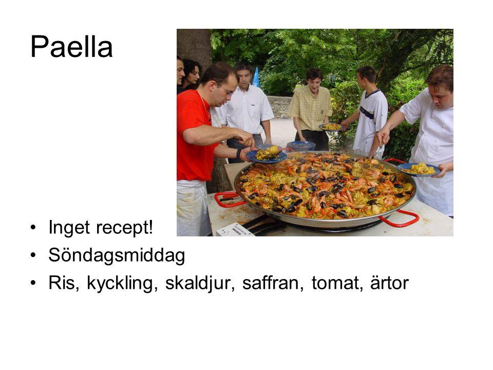 Paella Inget recept! Söndagsmiddag Ris, kyckling, skaldjur, saffran, tomat, ärtor