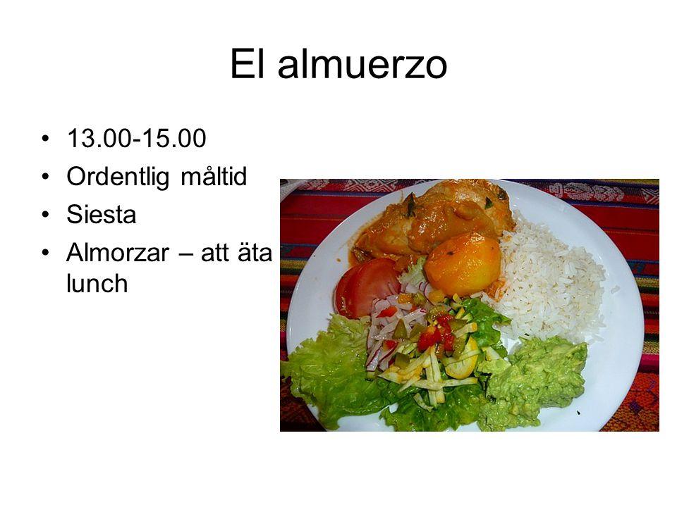 El almuerzo 13.00-15.00 Ordentlig måltid Siesta Almorzar – att äta lunch