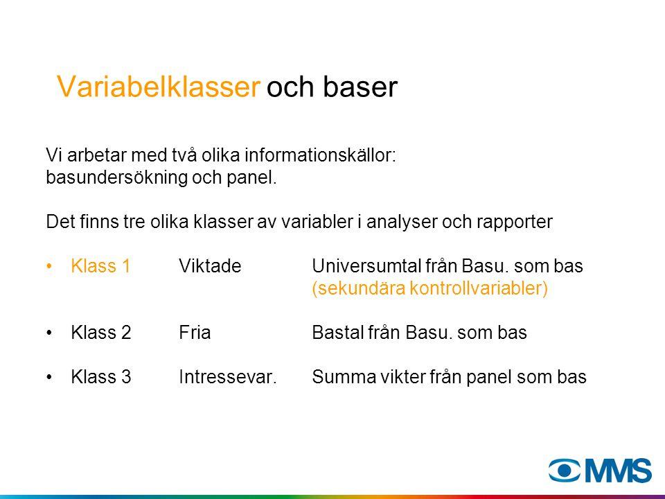 Variabelklasser och baser Vi arbetar med två olika informationskällor: basundersökning och panel.