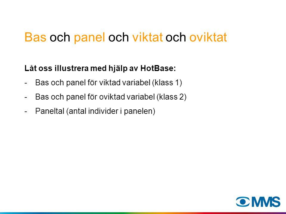Bas och panel och viktat och oviktat Låt oss illustrera med hjälp av HotBase: -Bas och panel för viktad variabel (klass 1) -Bas och panel för oviktad variabel (klass 2) -Paneltal (antal individer i panelen)