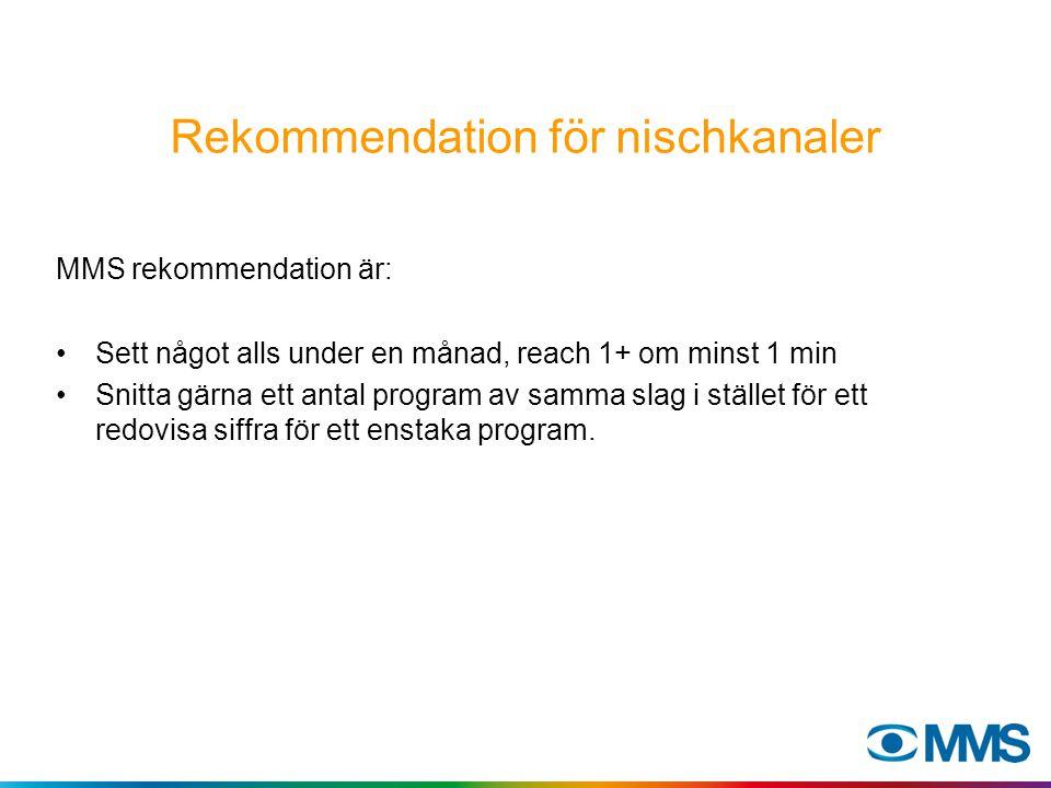 Rekommendation för nischkanaler MMS rekommendation är: Sett något alls under en månad, reach 1+ om minst 1 min Snitta gärna ett antal program av samma slag i stället för ett redovisa siffra för ett enstaka program.