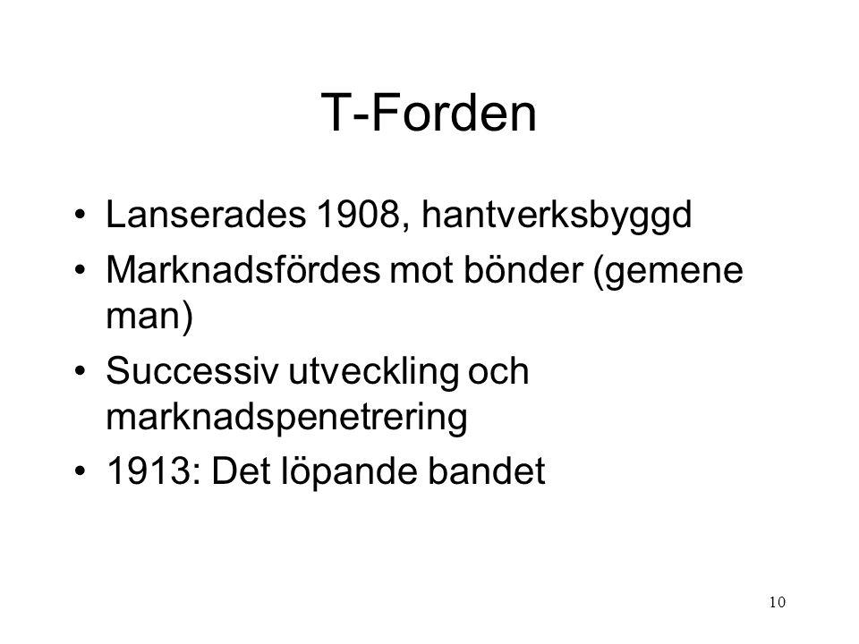 10 T-Forden Lanserades 1908, hantverksbyggd Marknadsfördes mot bönder (gemene man) Successiv utveckling och marknadspenetrering 1913: Det löpande bandet
