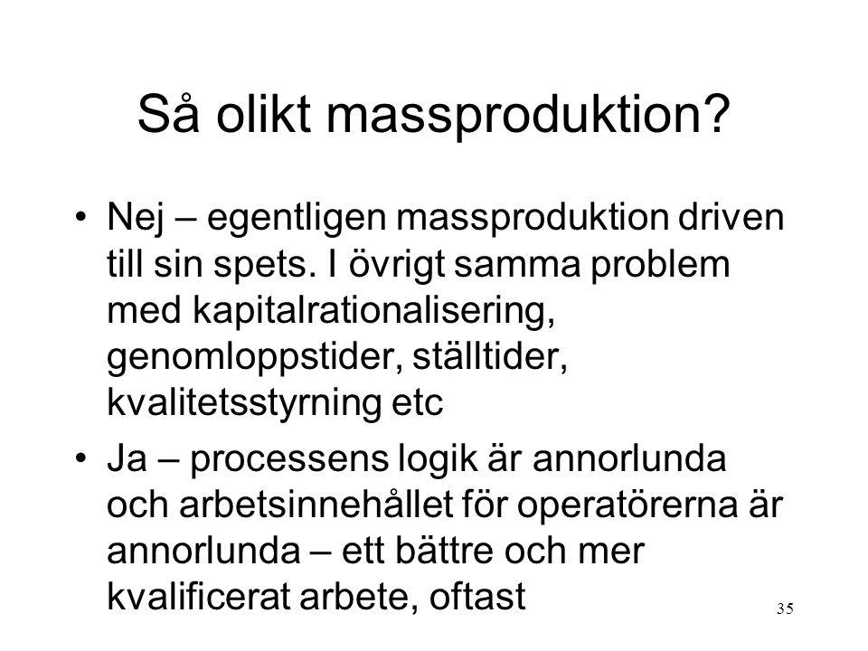 35 Så olikt massproduktion.Nej – egentligen massproduktion driven till sin spets.