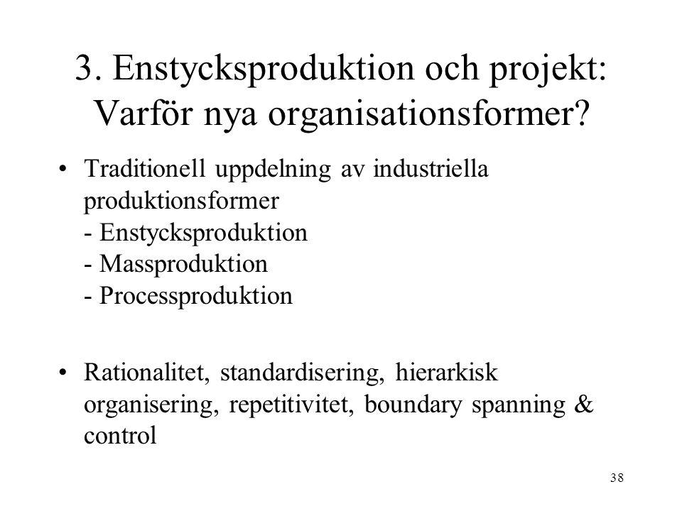 38 3.Enstycksproduktion och projekt: Varför nya organisationsformer.