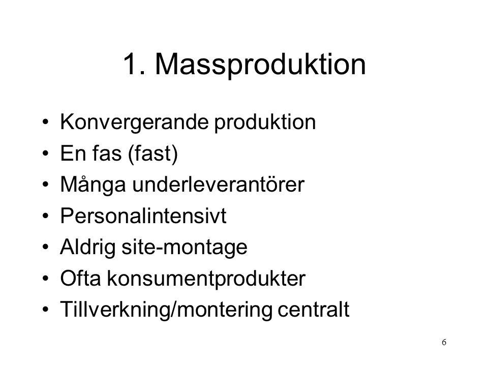 7 Före massproduktionens tidevarv Jordbruket dominerande Hantverksmässig eller projektbaserad produktion Tillgången till kraftkällor avgörande Ont om arbetskraft i städer