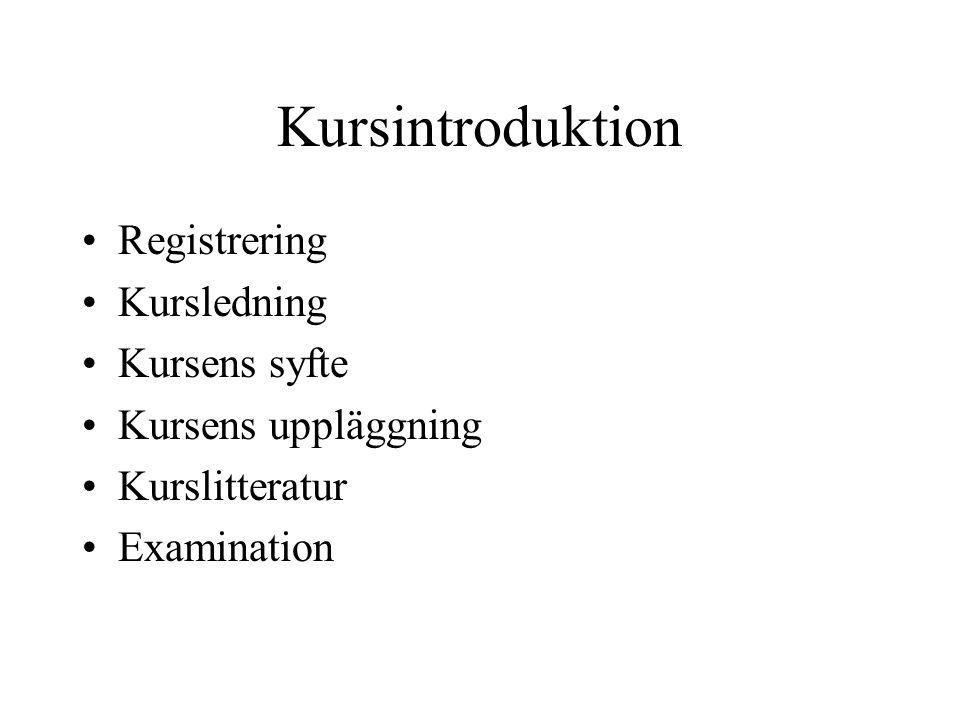 Registrering Kursledning Kursens syfte Kursens uppläggning Kurslitteratur Examination