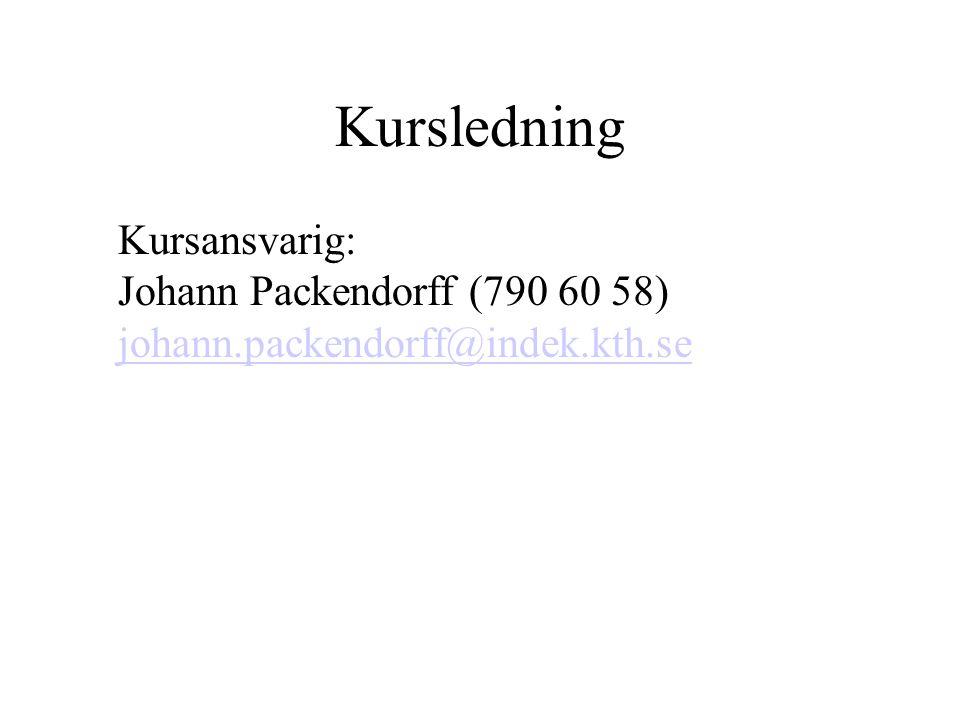 Kursledning Kursansvarig: Johann Packendorff (790 60 58) johann.packendorff@indek.kth.se johann.packendorff@indek.kth.se