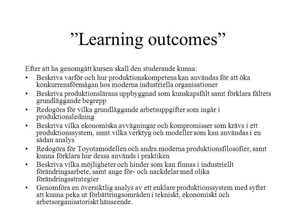 """""""Learning outcomes"""" Efter att ha genomgått kursen skall den studerande kunna: Beskriva varför och hur produktionskompetens kan användas för att öka ko"""