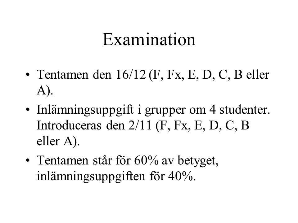 Examination Tentamen den 16/12 (F, Fx, E, D, C, B eller A). Inlämningsuppgift i grupper om 4 studenter. Introduceras den 2/11 (F, Fx, E, D, C, B eller