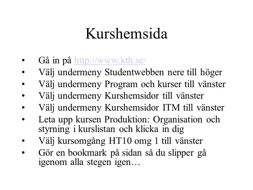 Kurshemsida Gå in på http://www.kth.se/http://www.kth.se/ Välj undermeny Studentwebben nere till höger Välj undermeny Program och kurser till vänster