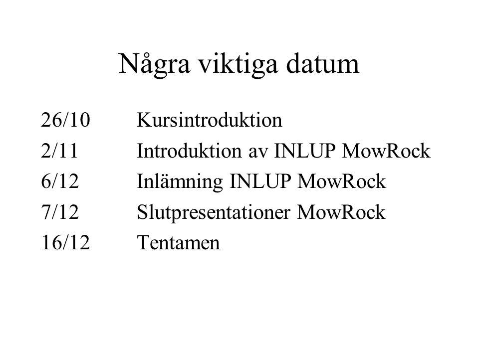 Några viktiga datum 26/10Kursintroduktion 2/11Introduktion av INLUP MowRock 6/12Inlämning INLUP MowRock 7/12Slutpresentationer MowRock 16/12Tentamen