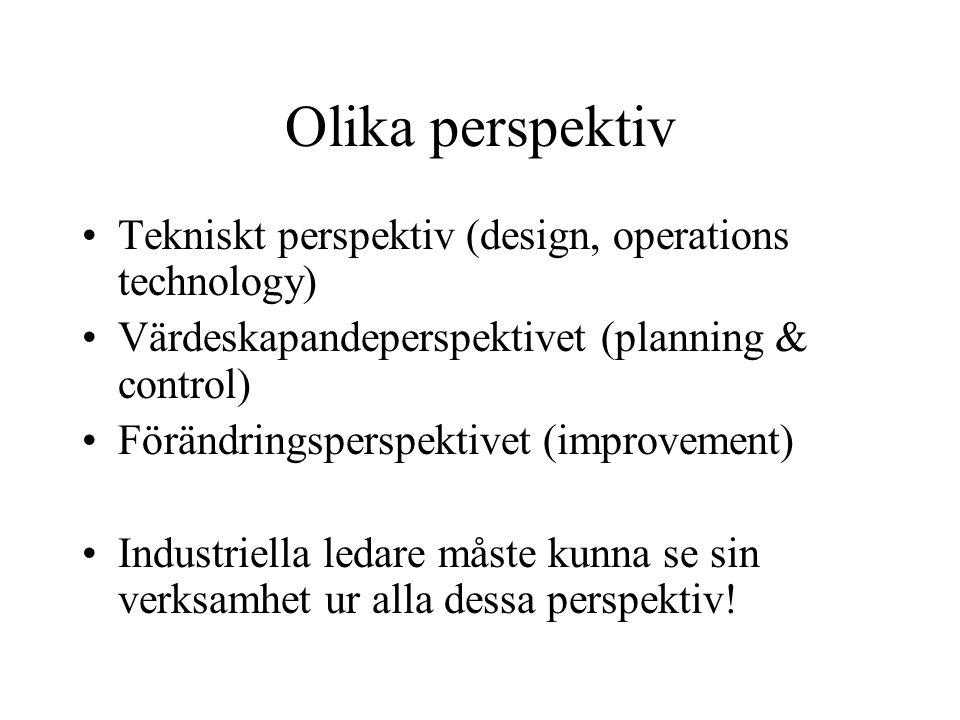 Tekniskt perspektiv (design) Val av råvaror Design- och konstruktionsval Val av verktyg och bearbetningsmetod Hållbarhetskrav Produktionssystemets utformning Ergonomi och arbetsorganisation Dvs att optimera fabrikens funktionalitet