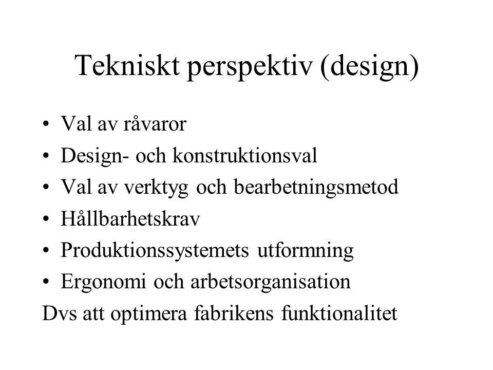 Tekniskt perspektiv (design) Val av råvaror Design- och konstruktionsval Val av verktyg och bearbetningsmetod Hållbarhetskrav Produktionssystemets utf