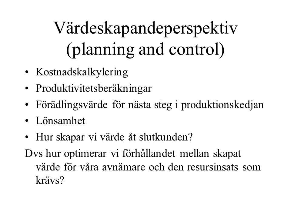 Värdeskapandeperspektiv (planning and control) Kostnadskalkylering Produktivitetsberäkningar Förädlingsvärde för nästa steg i produktionskedjan Lönsam