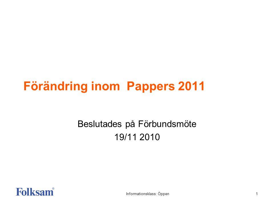 1Informationsklass: Öppen Förändring inom Pappers 2011 Beslutades på Förbundsmöte 19/11 2010