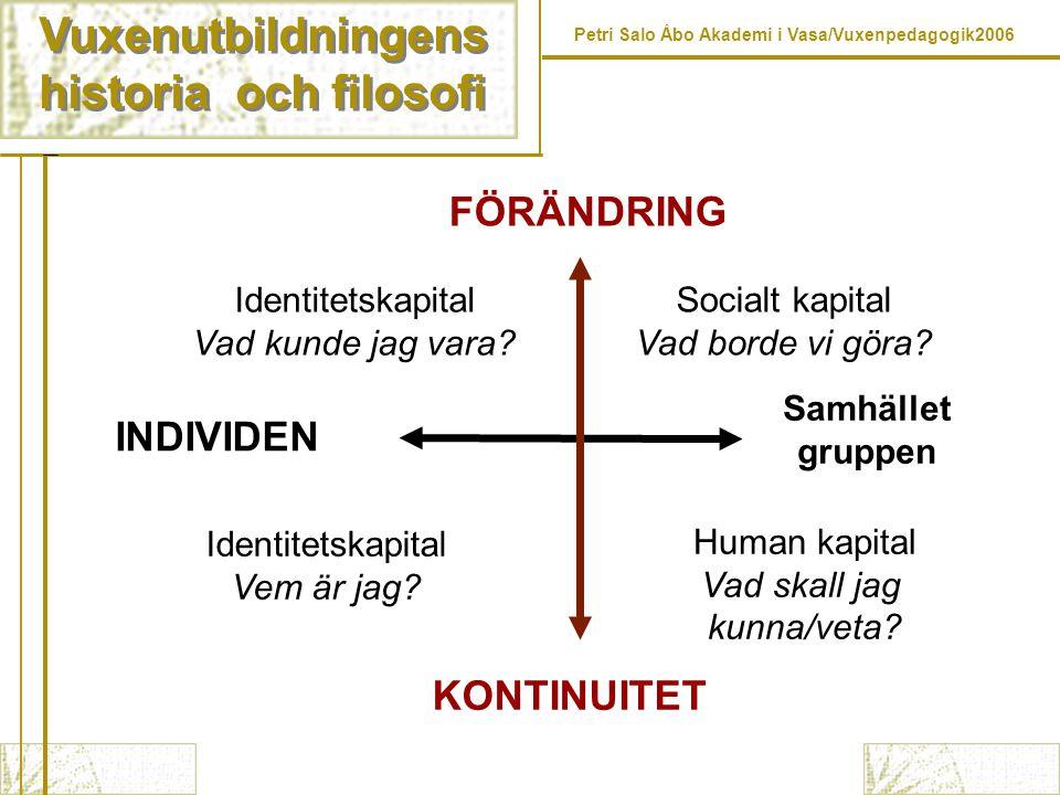 Vuxenutbildningens historia och filosofi Vuxenutbildningens historia och filosofi Petri Salo Åbo Akademi i Vasa/Vuxenpedagogik2006 INDIVIDEN Samhället