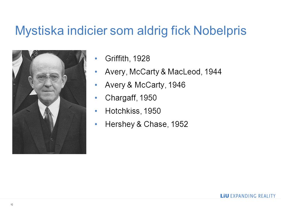 Mystiska indicier som aldrig fick Nobelpris Griffith, 1928 Avery, McCarty & MacLeod, 1944 Avery & McCarty, 1946 Chargaff, 1950 Hotchkiss, 1950 Hershey