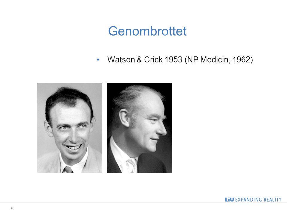 Genombrottet Watson & Crick 1953 (NP Medicin, 1962) 11