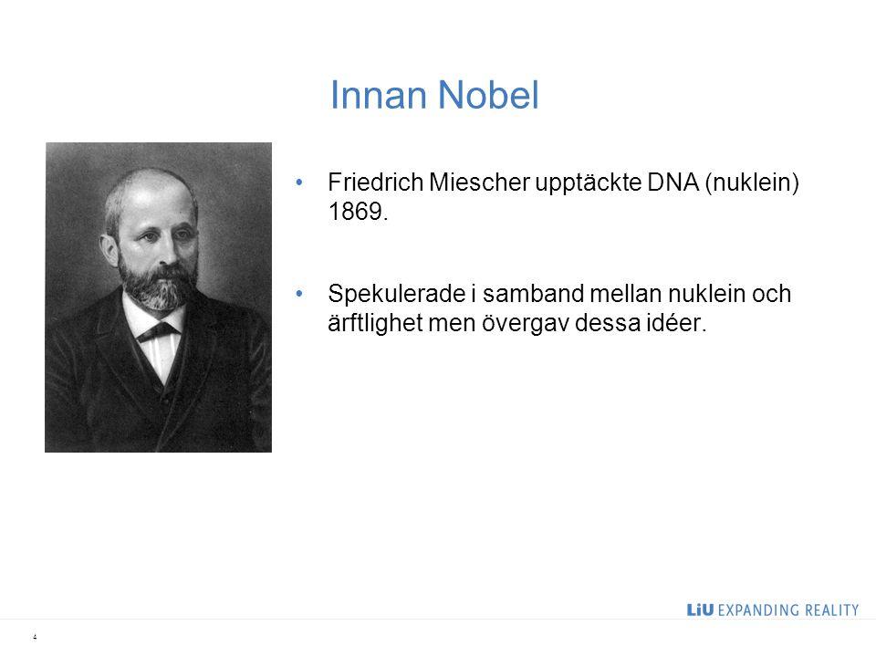 Innan Nobel Gregor Mendel 1822-1884 Experiment på växthybridisering 1865 Egenskaper ärvs från en generation till en annan.