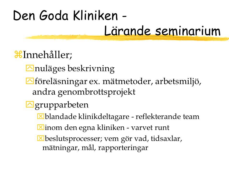 Den Goda Kliniken - Lärande seminarium zInnehåller; ynuläges beskrivning yföreläsningar ex.