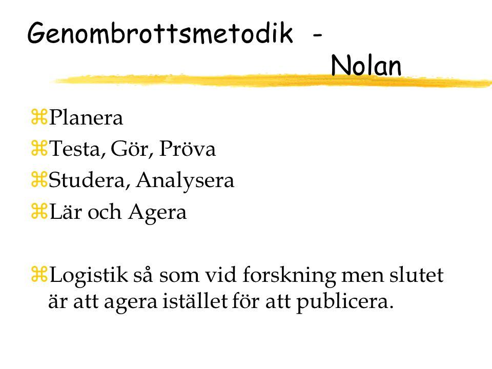 Genombrottsmetodik - Nolan zPlanera zTesta, Gör, Pröva zStudera, Analysera zLär och Agera zLogistik så som vid forskning men slutet är att agera istället för att publicera.