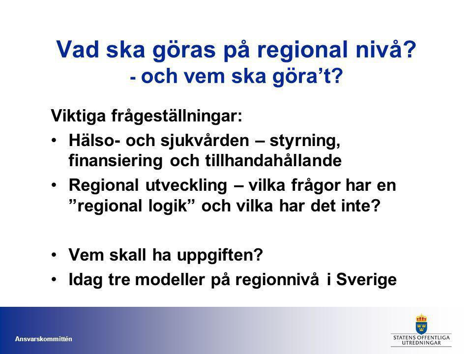 Ansvarskommittén Vad ska göras på regional nivå? - och vem ska göra't? Viktiga frågeställningar: Hälso- och sjukvården – styrning, finansiering och ti