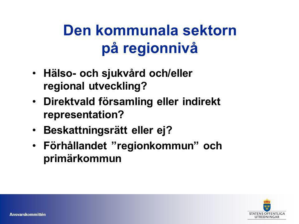 Ansvarskommittén Den kommunala sektorn på regionnivå Hälso- och sjukvård och/eller regional utveckling? Direktvald församling eller indirekt represent