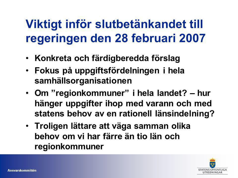 Ansvarskommittén Viktigt inför slutbetänkandet till regeringen den 28 februari 2007 Konkreta och färdigberedda förslag Fokus på uppgiftsfördelningen i