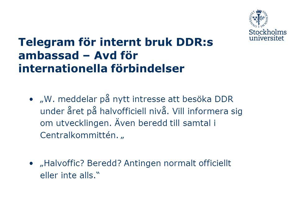 """Telegram för internt bruk DDR:s ambassad – Avd för internationella förbindelser """"W."""