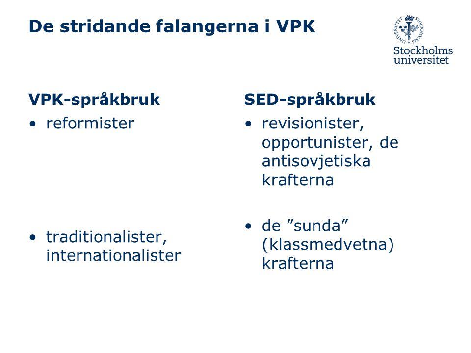 De stridande falangerna i VPK VPK-språkbruk reformister traditionalister, internationalister SED-språkbruk revisionister, opportunister, de antisovjetiska krafterna de sunda (klassmedvetna) krafterna